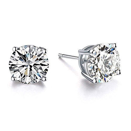 Ring 18k White Gold Jewelry - Hypoallergenic Earrings Sterling Silver Cubic Zirconia Stud Earring 18k White Gold Women Jewelry Teens Girls Birthday Gifts Simulated Diamond CZ Stud Earrings