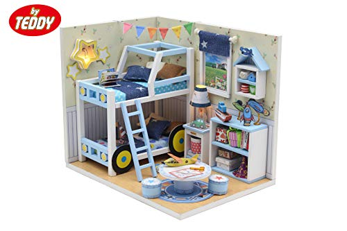 By Teddy Charles' Room Miniature Children's Room Model DIY Dollhouse Project Kit   Includes Lights and Furniture (Unassembled)