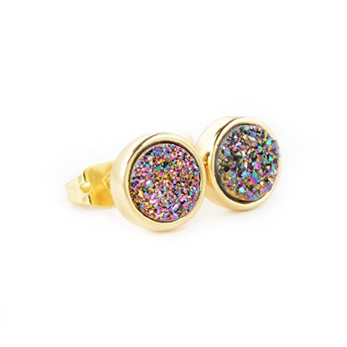 JAB 8mm Round Rainbow Color Natural Agate Titanium Druzy Stud Earrings Gold Plated Copper Druzy Jewelry by JAB (Image #1)'