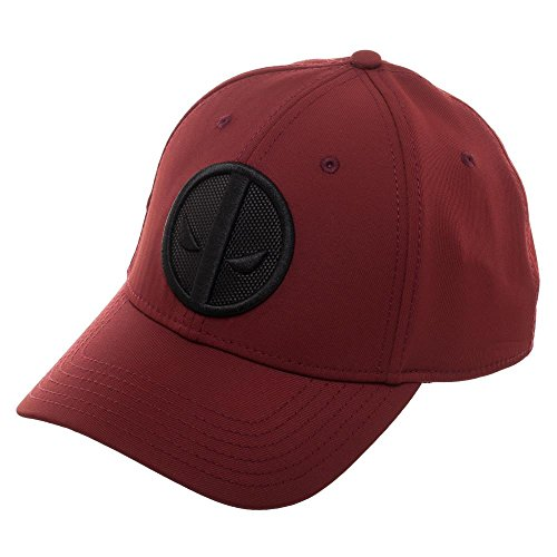 Bioworld Marvel Deadpool Logo Flatbill, Black Patch Insignia with Stitching, MERC with A Mouth, Red, OFSA]()