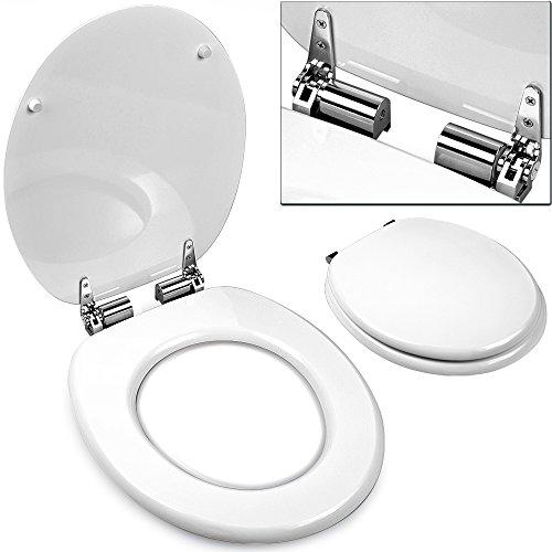 Toilettensitz weiß Absenkautomatik, Edelstahlscharnieren - WC Sitz Toilettendeckel
