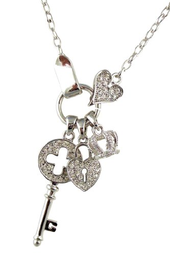 Silver Tone Designer Style Crystal Heart Padlock, Crown, Key, Charm Couture Necklace for Women Teens