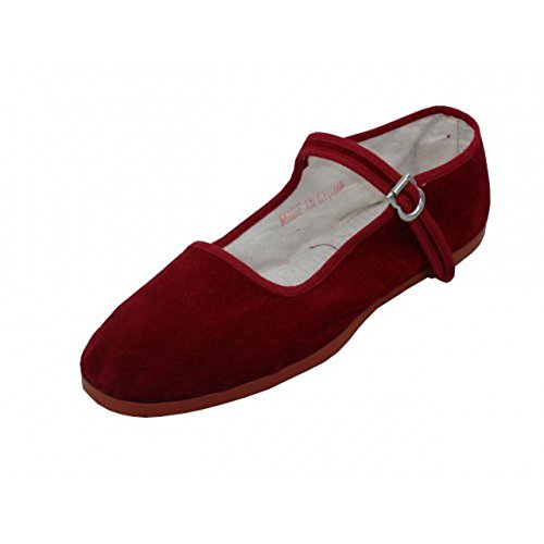 Lätt Usa Kvinna Bomull Mary Jane Skor Ballerina Balett Lägenheter Skor 118 Vinrött
