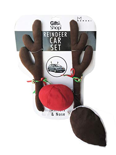 MOMONI Premium Reindeer Car Kit Antlers, Nose, Tail- Rudolph Set Reindeer Christmas Decoration Car Costume Auto Accessories -