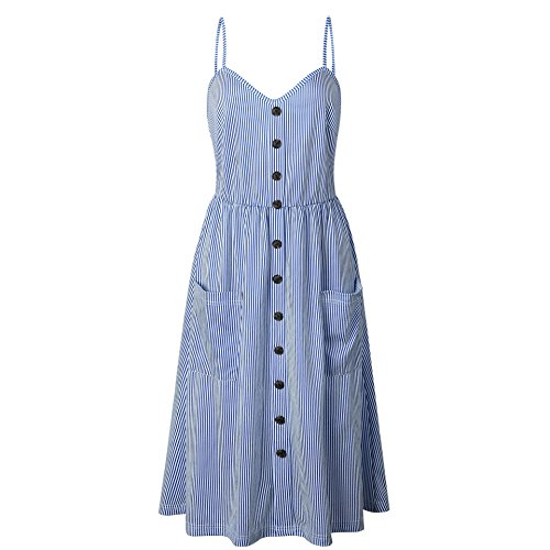 Blue Boho Floral Backless record Women's fashion 2 stripe Style Down Dress Swing inspired Midi your Straps dark Button Tie Spaghetti Front CHOiES R7xXp7
