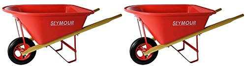 Seymour WB-JRB Children's Hight Density Poly Tray Wheelbarrow with Steel Wheel and Solid Rubber Tire, Boxed (Pack of 2) by Seymour