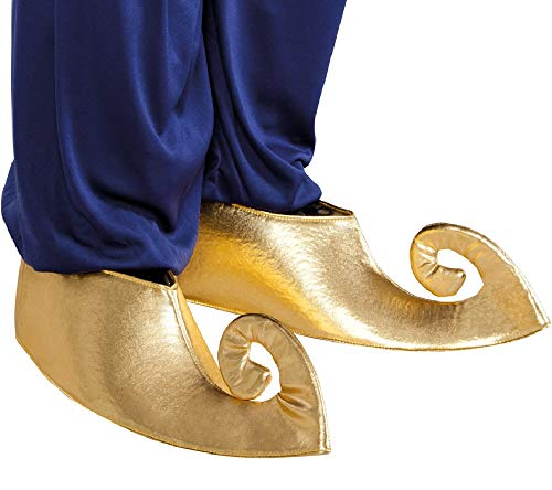 Fancy Me Ladies Mens Gold Aladdin Genie Arabian Shoe Covers Costume Outfit Accessory (Genie Costume Shoes Men)