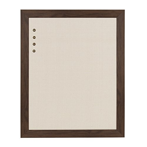 DesignOvation Beatrice Framed Linen Fabric Pinboard, 23x29, Walnut - Covered Board Memo Fabric