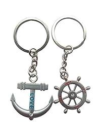Click Down Rudder & Anchor Cute Couple Keychain Love Keychain Key Ring