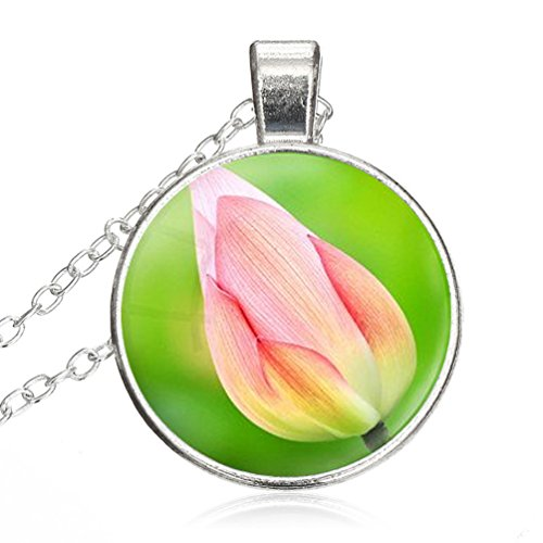 - Women Small Round Disc Blossom Lotus Art Glass Cabochon Jewelry Pendant Necklace Gift for Women