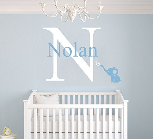 """Custom Name & Initial Bubbles Elephant Animal Series - Baby Boy Girl Decoration - Mural Wall Decal Sticker For Home Interior Decoration Car Laptop (AM) (Wide 22"""" x 15"""" Height)"""