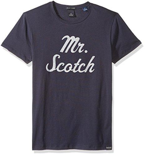 Scotch & Soda Men's Crewneck Tee with Logo Chest Artworks, Midnight, - Scotch Soda And