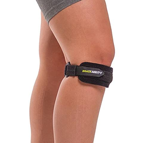 BraceAbility Patella Strap | Adjustable Knee Band for Runners / Jumpers Knee, Patellar Tendonitis, Osgood Schlatter & Chondromalacia Pain Relief, Basketball, Hiking, Soccer, Volleyball (Bad Runner)