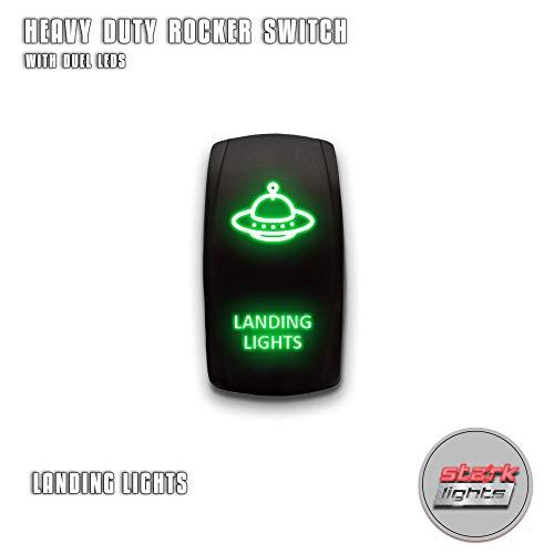 LANDING LIGHTS (A) - Green - STARK 5-PIN Laser Etched LED Rocker Switch Dual Light - 20A 12V ON/OFF