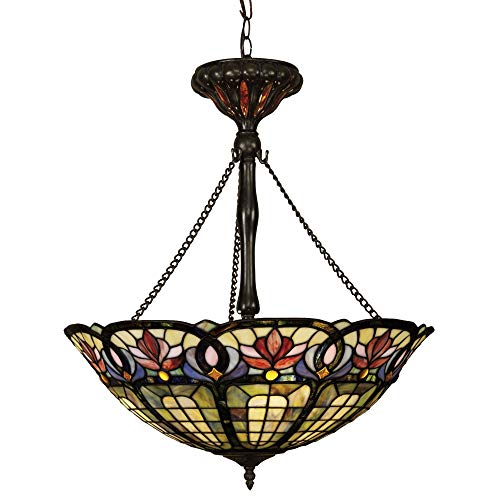 Quoizel TF1438VB Hyacinth Tiffany Bowl Pendant Lighting - 3-Light - 300 Watts - Vintage Bronze (27