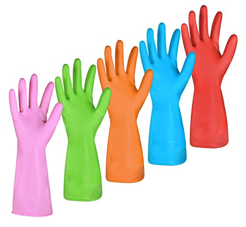Dishwashing Rubber Gloves for Cleaning – 5 Pairs Household Gloves Including Blue, Pink, Orange, Green and Red, Non Latex and Fit Your Hands Well, Great Kitchen Tools Large