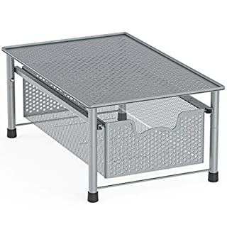 Simple Houseware Stackable Cabinet Basket Drawer Organizer, Silver
