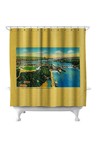 Ballard Locks in Seattle, Second to Panama Canal (71x74 Polyester Shower Curtain) ()
