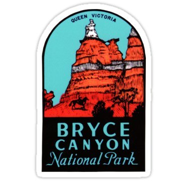 Vintage Travel Decal - Bryce Canyon National Park Utah Vintage Travel Decal - Sticker Graphic - Auto, Wall, Laptop, Cell, Truck Sticker for Windows, Cars, Trucks