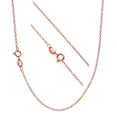 Rose Gold-Tone over Sterling Silver 1.2mm Very Thin Italian Cable Chain Necklace - 36