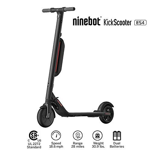 Segway Electric KickScooter Foldable Commuter Scooter, 28 Mile Range, 18.6 mph Top Speed, Cruise Control, Bluetooth Mobile App Connectivity for Adults and Kids(Scooter ES4) ()