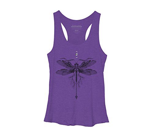 Design By Humans Dragonfly Tattoo Women's Large Purple Heather Racerback Tank (Dragonfly Womens Tank Top)