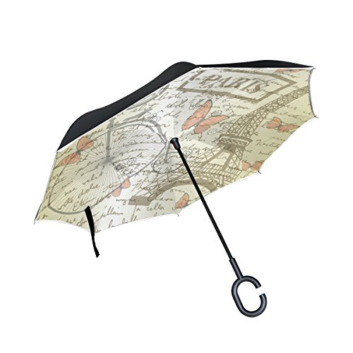 Yuihome Double Layer Inverted Reverse Umbrella Paper and Bicycle Windproof for Car Rain Outside C-shapped Handle by Yuihome