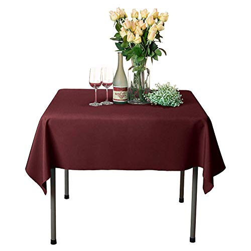 GlaiEleh Square Tablecloth - 54 x 54 Inch - Burgundy Square Table Cloth for Square or Round Tables in Washable Polyester - Great for Buffet Table, Parties, Holiday Dinner, Wedding & More 54' White Round Table