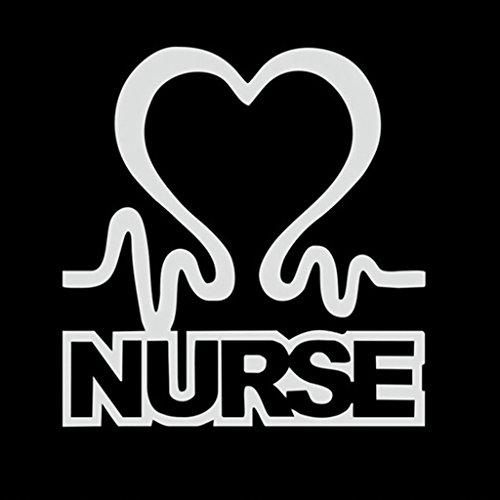 [Nurse Heartbeat Decal Vinyl Sticker|Cars Trucks Vans Walls Laptop| White |5.5 x 5.25 in|CCI966] (Jackie Nurse Shoes)