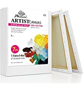 PHOENIX White Blank Cotton Stretched Canvas Artist Painting - 11x14 Inch / 7 Pack - 5/8 Inch Prof...