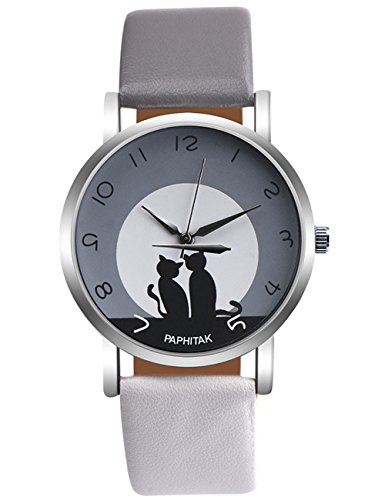- Women Quartz Watches PAPHITAK Cat Pattern Clearance Female Watches on Sale Lady Watches Cheap Watches-H89 (gray white)