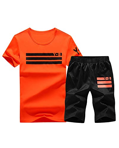 Lavnis Men's Casual Tracksuit Short Sleeve Running Jogging Athletic Sports Set Red L (Best Male Outfits 2019)