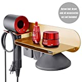 FLE Hair Dryer Holder Wall Mounted with Shelf, Gold Wall Mount Hair Dryer Holder Rack Organizer Compatible for Dyson Supersonic Hair Dryer, Diffuser, Two Nozzles, Power Plug