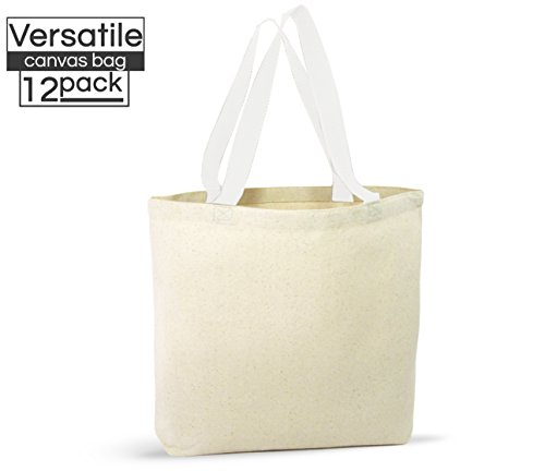 12 Pack Canvas Tote Bags - Design Your Own Party Favor Pack Tote Canvas Bags by Big Mo's Toys