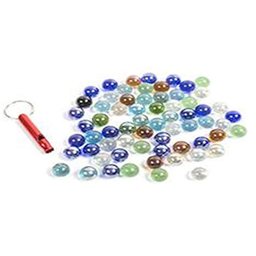 (POPLAY 50 PCS Beautiful Player Marbles Bulk for Marble Games,Multiple Colors(1 Whistle for Free))