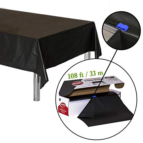 Neatiffy 54 Inch x 108 Feet (Equal to 12 Pack) Roll Plastic Table Cloth Picnic/Party/Banquet, Heavy Duty Table Cover (Reusable/Disposable) Tablecloths for Rectangle/Round/Square Tables (Black) ()