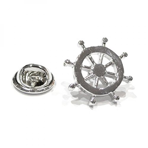 Retail Zone Men's Plated Ships Wheel Lapel Pin Badge Ship Sailing Boa One Size Silver