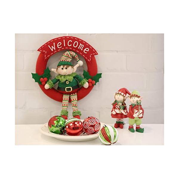 Victor's Workshop Addobbi Natalizi 9 Pezzi 6cm Palle di Natale, Delightful Elf Red Green And White Infrangibile Palla di Natale Ornamenti Decorazione per L'Albero di Natale 5 spesavip