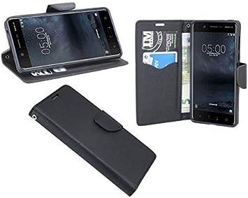 Elegante Cobertor Estilo Libro Funda para Nokia 5 en Negro Aspecto ...