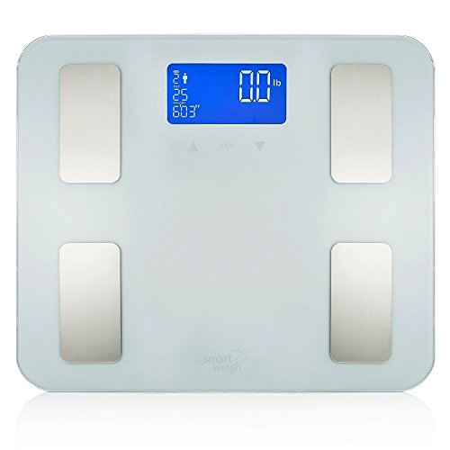 Smart Weigh Digital Bathroom Scale for Body Weight, BMI, Bone Mass, Visceral Fat, Muscle Mass and Calorie Management - Tempered Glass Platform w/Large Digital Backlit LCD- FDA Approved-440lbs -Silver Management Body