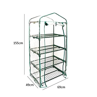 Byans Mini Garden Greenhouse 3/4 Tiers Green Hot Plant House Shed Storage PVC Cover Apex (4 Tiers 155X69X49cm) : Garden & Outdoor
