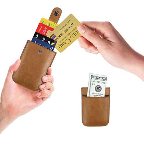 Minimaliste Crédit Carte En monnaie Poche Hommes Titulaires cartes Brown Portefeuilles Cartes Cuir Slim À Multi La Porte Femmes Rfid Tirant De Ow6qgrO