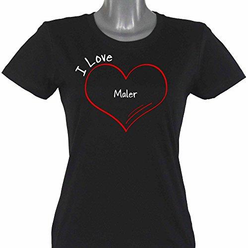 T-Shirt Modern I Love Maler schwarz Damen Gr. S bis 2XL
