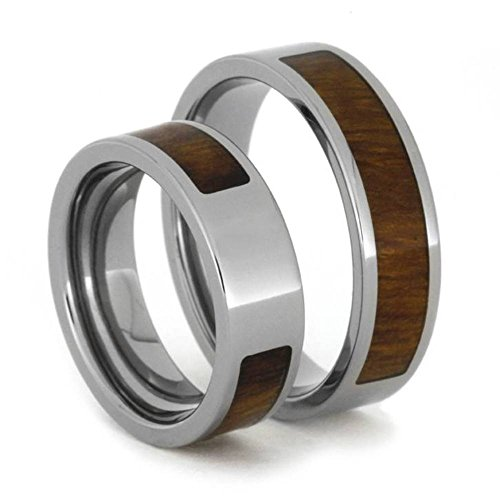 Inlaid Ironwood Comfort-Fit His and Hers Titanium Wedding Band Set, M9-F7.5 by The Men's Jewelry Store (Unisex Jewelry)