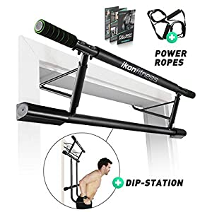 Ikonfitness Ultimate 4 in 1 Doorway Trainer – Raised Height Pull Up Bar, Dips Bar & Power Ropes for A Total Body Home Workout – USA Original Patent, USA Designed, USA Shipped, USA Warranty