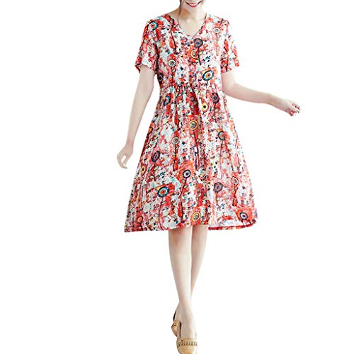 Women Dress Summer Vintage Print Abstract Short Sleeve Loose Casual Long Dress Red ()
