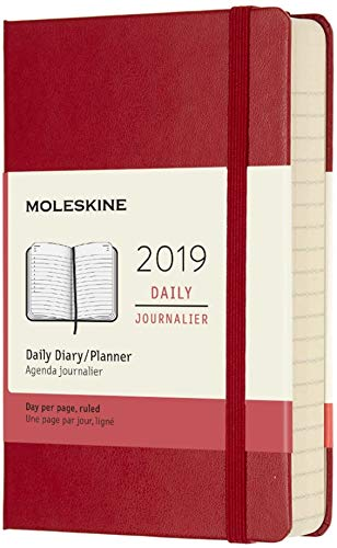 """Moleskine Classic 12 Month 2019 Daily Planner, Hard Cover, Pocket (3.5"""" x 5.5"""") Scarlet Red"""