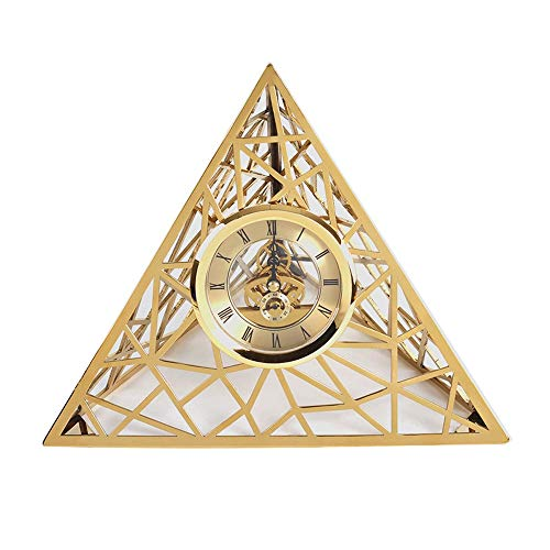 - TAO Pyramid-Shaped Clock Generation Triangle Stainless Steel Clock Set Up Creative Home Accessories European Minimalism Now (Color : Gold)