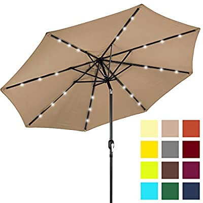 Best Choice Products 10-Foot Solar Powered Aluminum Polyester LED Lighted Patio Umbrella with Tilt Adjustment and Fade-Resistant Fabric