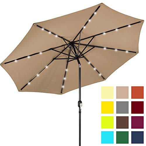 Best Choice Products 10ft Solar LED Lighted Patio Umbrella w/Tilt Adjustment, Fade-Resistant Fabric - Tan - Picnic Table Umbrella